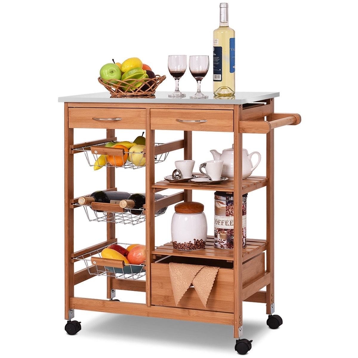 Bamboo Kitchen Island Cart With Casters