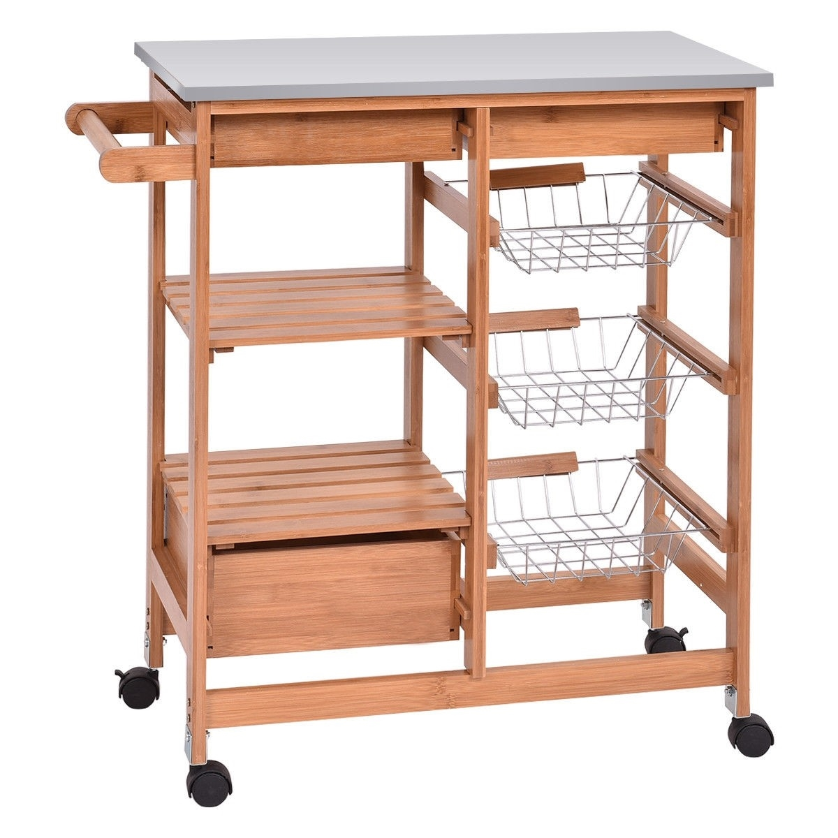 Stainless Steel Top Bamboo Kitchen Island Cart with ...