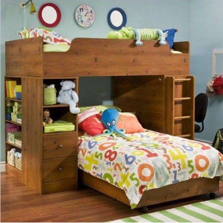 Sunny Pine Twin Over Twin L Shaped Bunk Bed With Storage