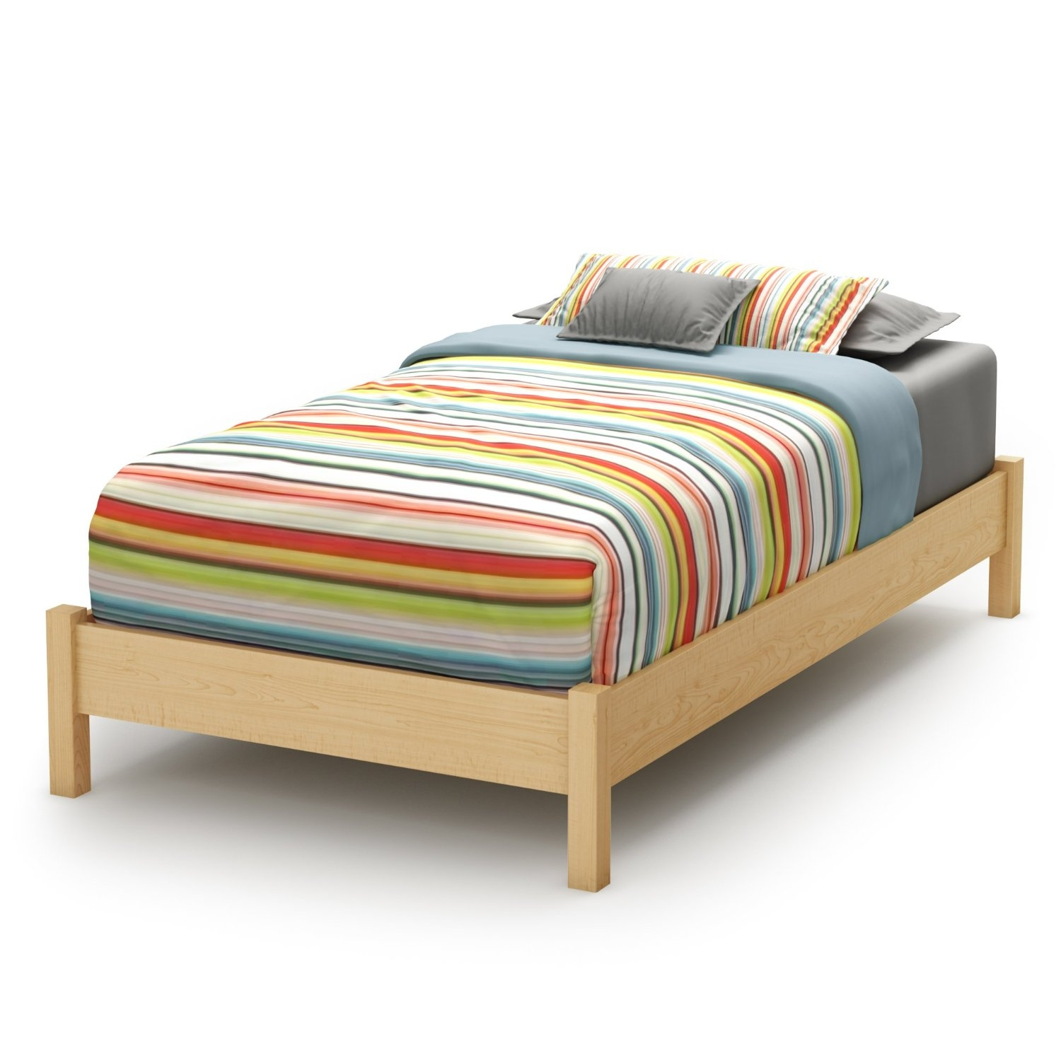 Twin Size Platform Bed Frame In Natural Wood Finish