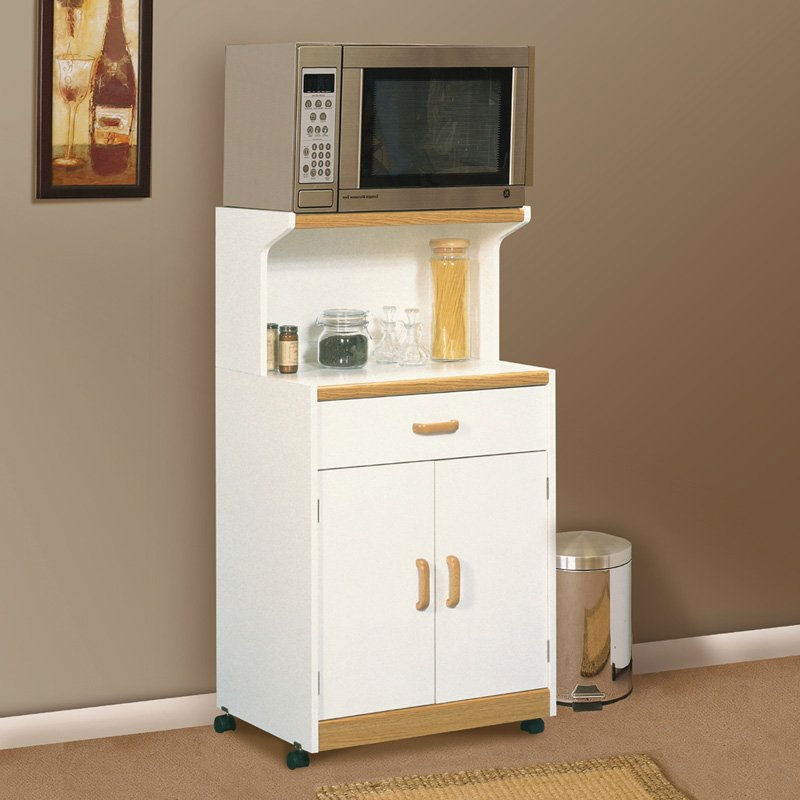 White Microwave Cart With Natural Wood Finish Accents And Sy Dual Wheel Casters