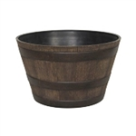 15-5-inch Round Whiskey Barrel Planter in Aged Walnut Finish Resin
