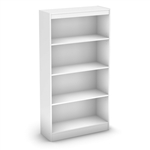 White 4-Shelf Bookcase with 2 Adjustable Shelves