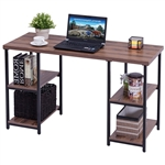 Modern Classic Wood and Metal Computer Desk with Book Shelves