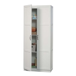 White Wardrobe Storage Cabinet with 4 Shelves and Panel Doors