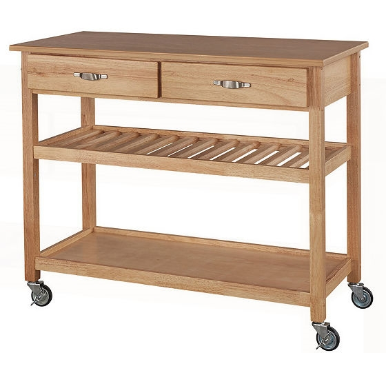 Solid Wood Kitchen Cart With Heavy Duty Casters