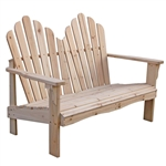 Cedar Wood Outdoor Patio 2-Seat Adirondack Chair Style Loveseat