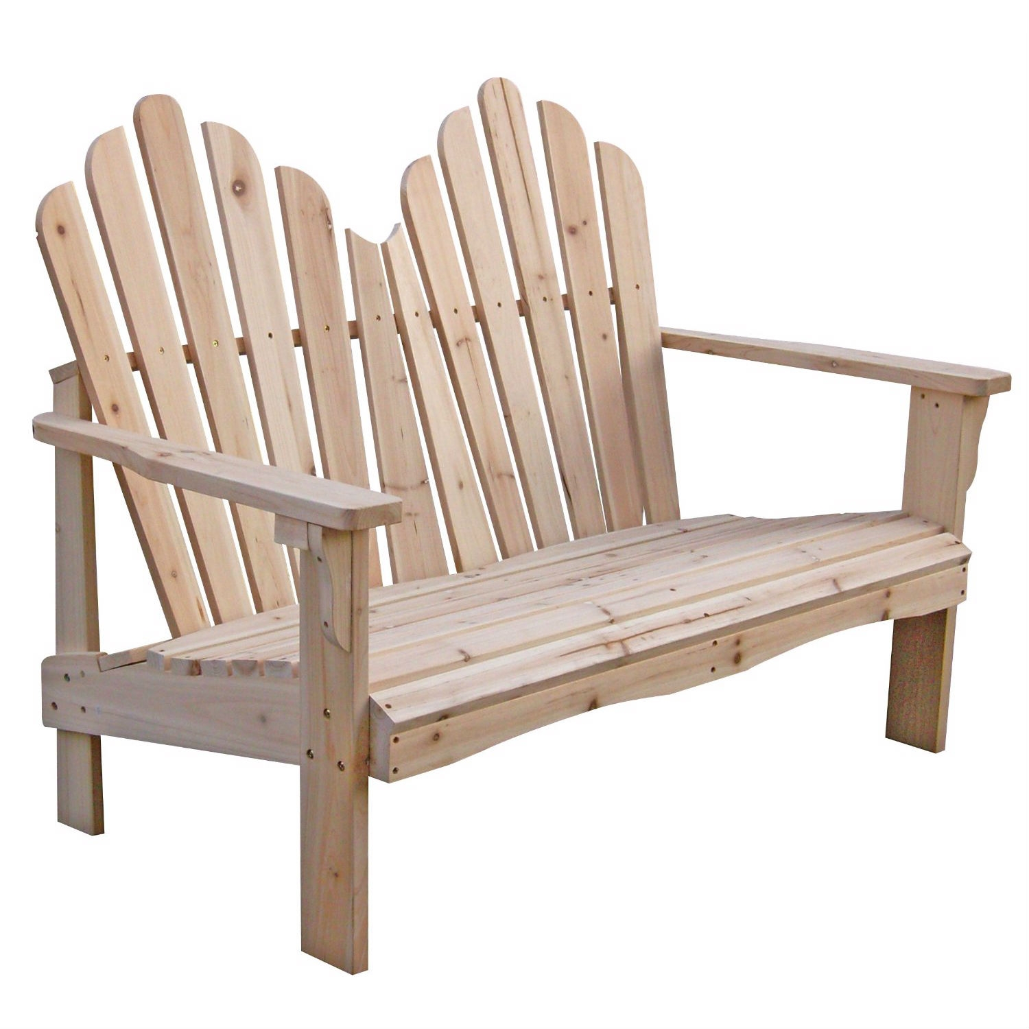 Cedar Wood Outdoor Patio 2 Seat Adirondack Chair Style Loveseat