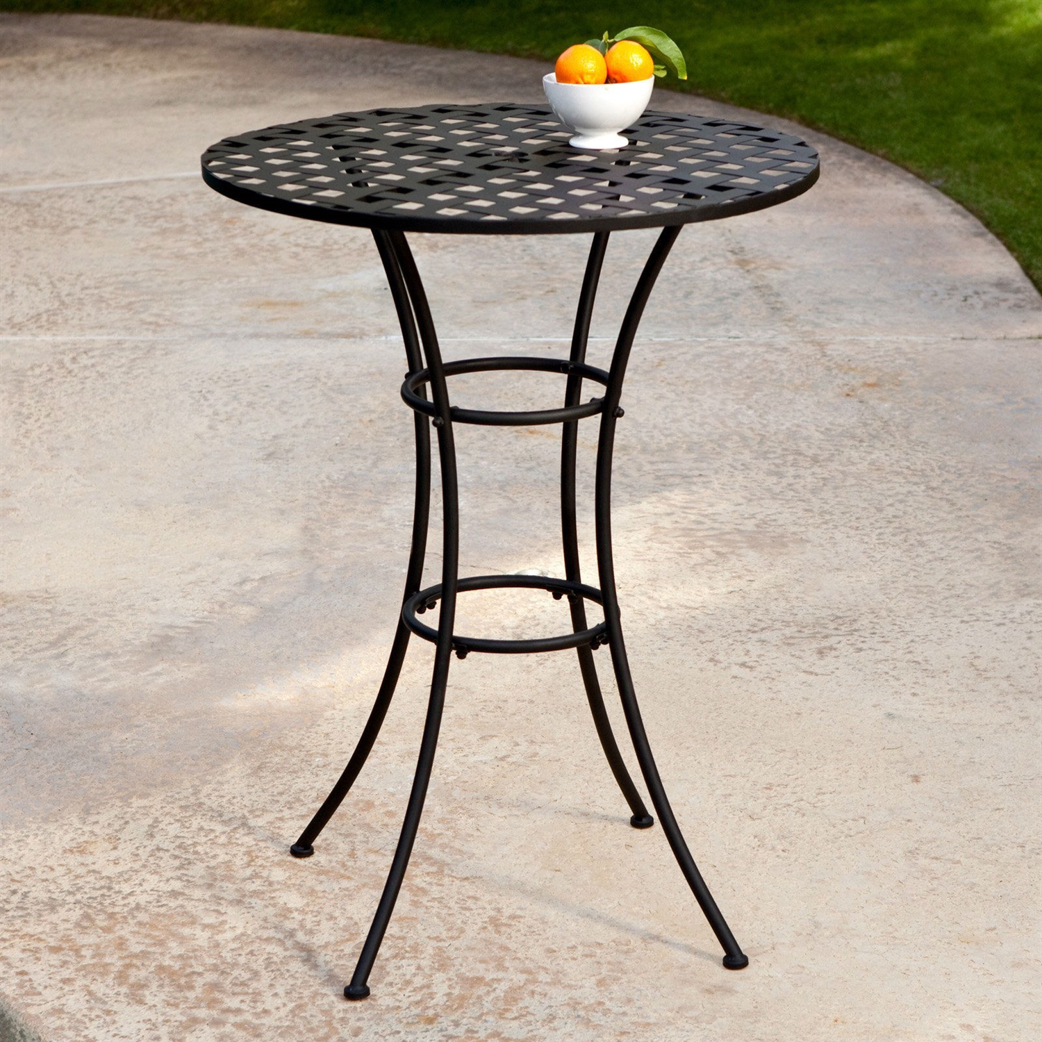 Black wrought iron outdoor bistro patio table with timeless round tabletop fastfurnishings com