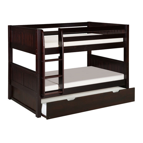 Solid Wood Modern Twin Over Twin Bunk Bed With Trundle In Cappuccino