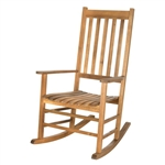 Outdoor Porch Rocker Mission Style Wood Rocking Chair in Teak Finish