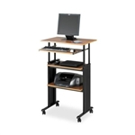 Adjustable Height Stand Up Office Desk in Medium Oak
