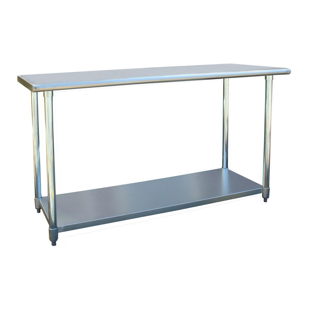 Marvelous Heavy 60 X 24 Inch Stainless Steel Work Bench Utility Table With Rounded Edges Pabps2019 Chair Design Images Pabps2019Com