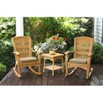 3PC Outdoor Porch Rocker Set w/ 2 Amber Wicker Resin Rocking Chairs & Table