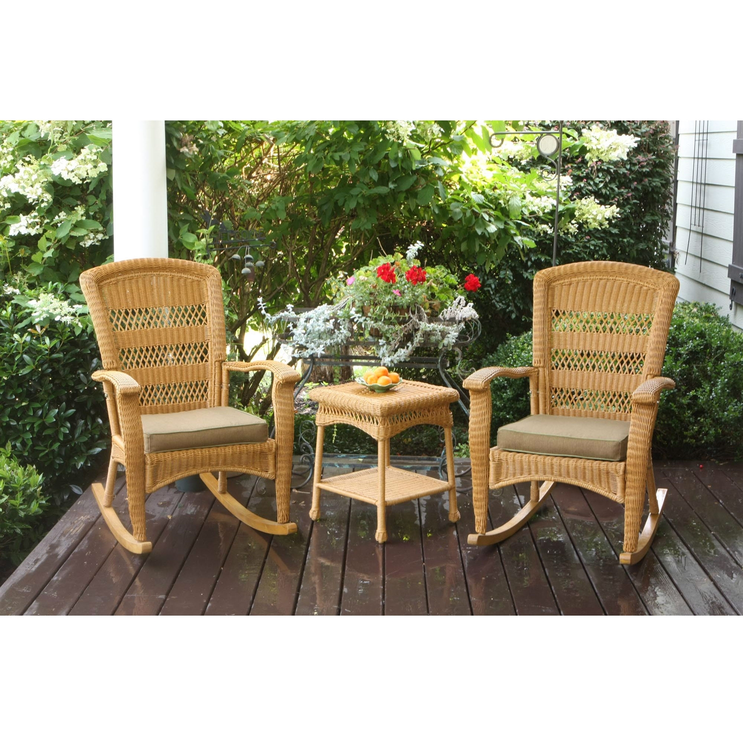 3pc outdoor porch rocker set w 2 amber wicker resin rocking chairs u0026 table