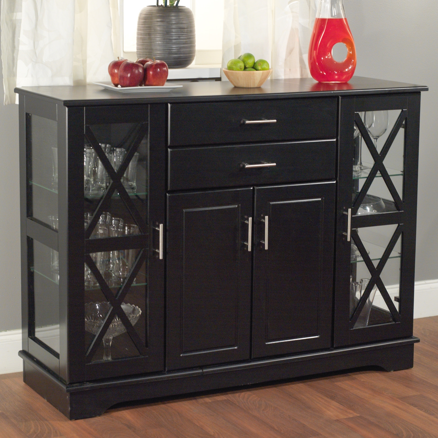 Black Wood Buffet Dining Room Sideboard With Gl Doors Fastfurnishings
