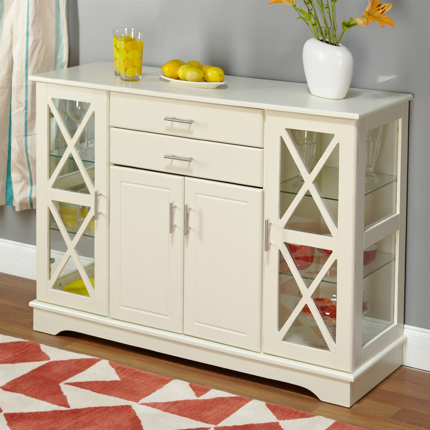 Genial White Wood Buffet Sideboard Cabinet With Glass Display Doors