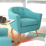 Turquoise Modern Mid-Century Style Arm Chair with Solid Wood Legs