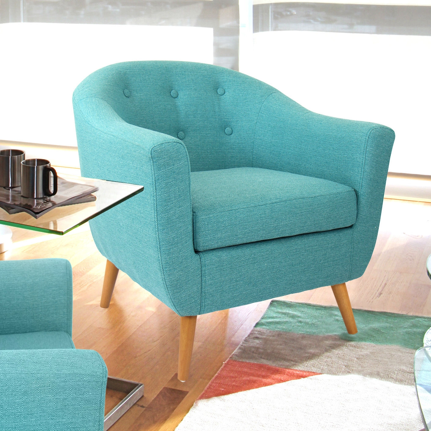 Turquoise Modern Mid Century Style Arm Chair with Solid Wood Legs