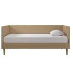 双世纪中期现代棕褐色亚麻软垫沙发床