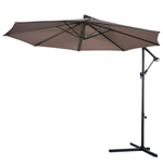 Tan 10-Ft Outdoor Steel Pole Tilt Crank Offset Patio Umbrella