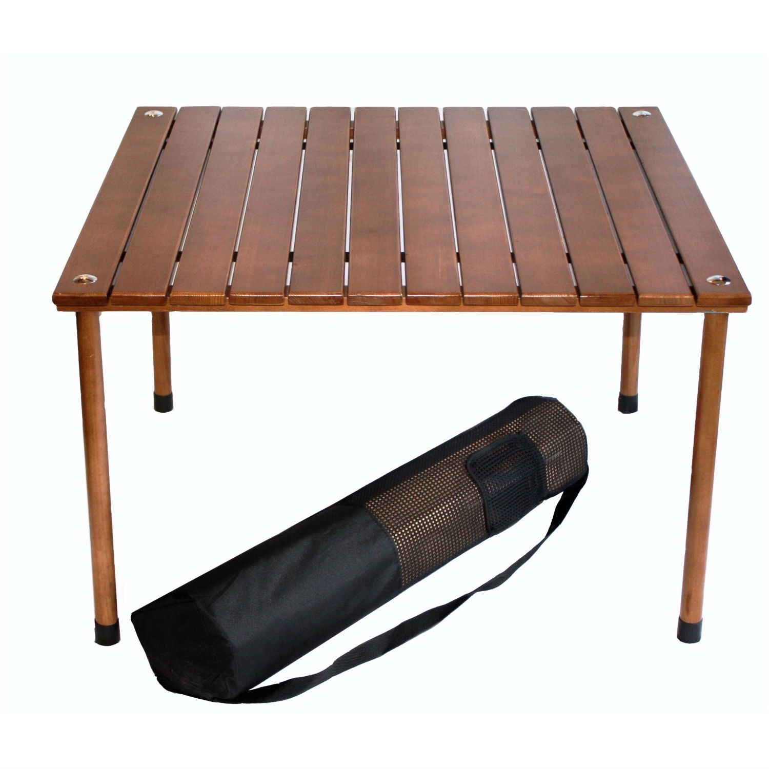 Outdoor Portable Folding Table With Carry Bag Solid Wood Top