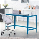 Simple Modern Metal Office Desk in Teal Blue Finish