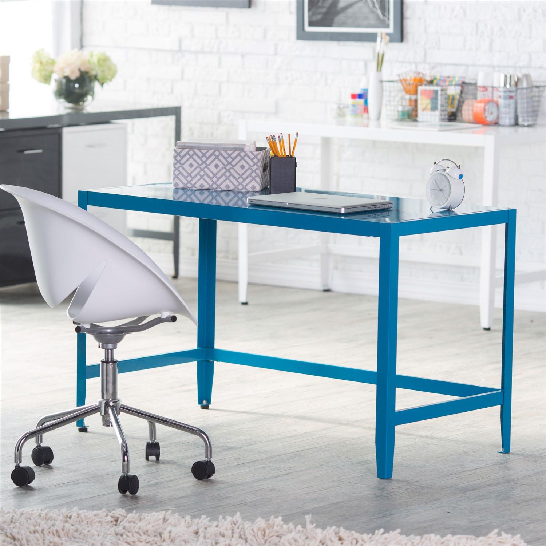 Simple Modern Metal Office Desk in Teal Blue Finish
