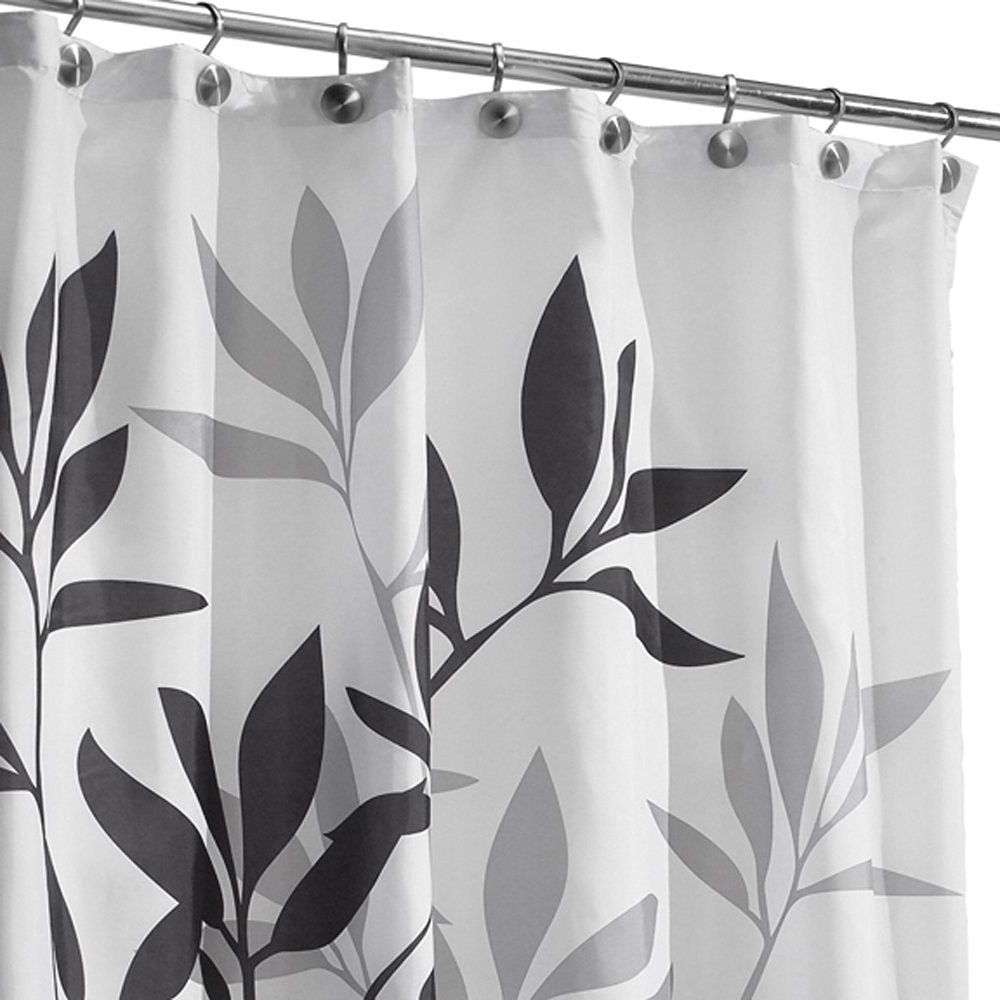 Tree Branch Leaves Black White Grey Fabric Shower Curtain ...