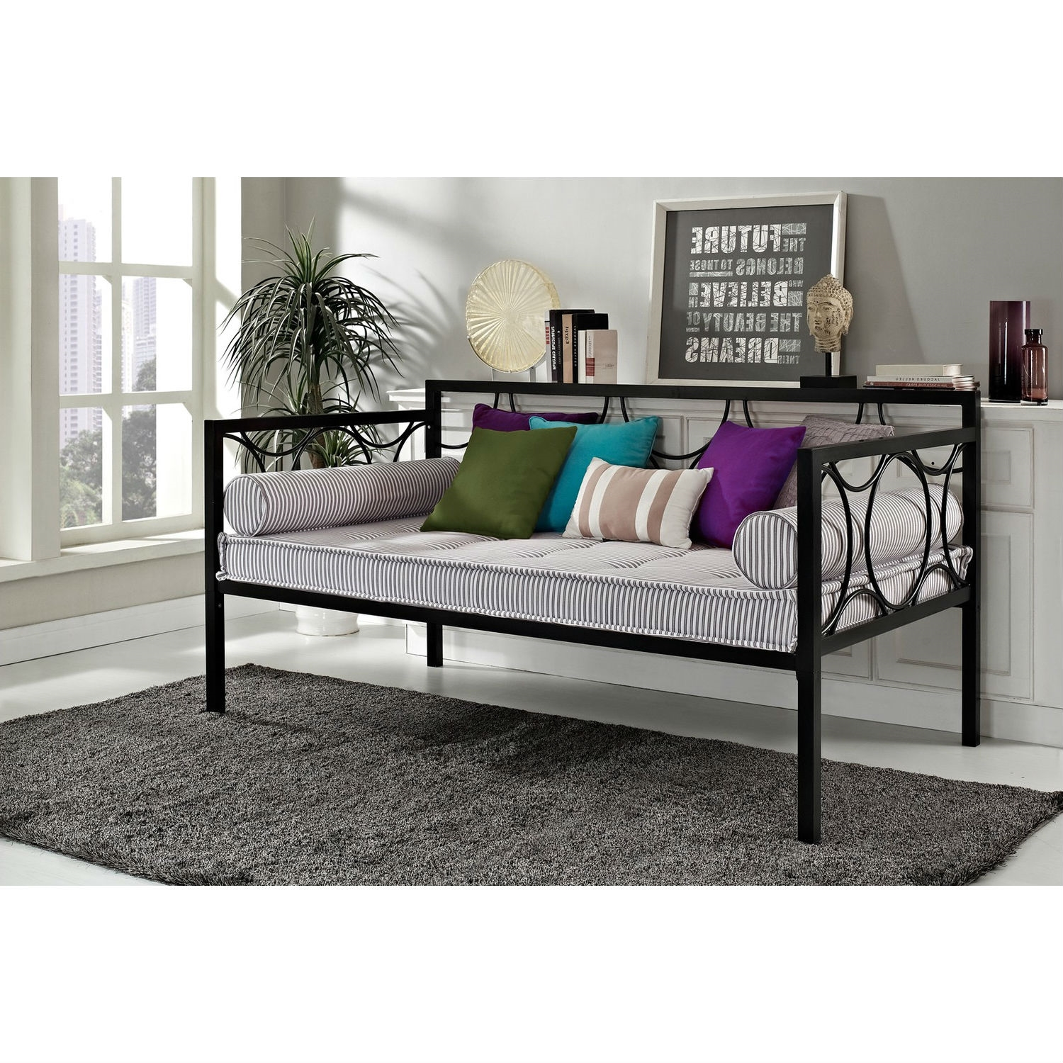 Twin size Modern Black Metal Daybeds Use as Bed or Seating