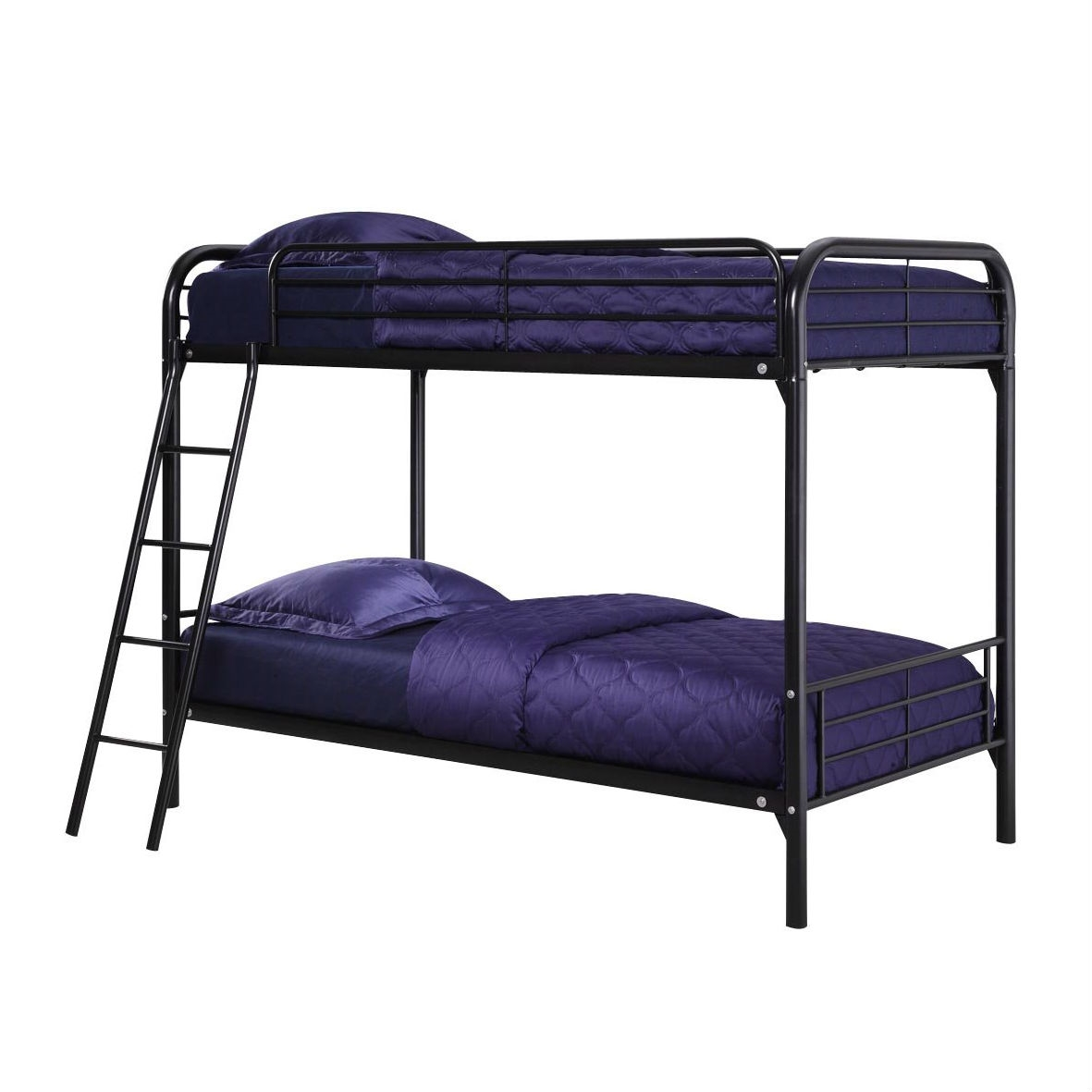 Picture of: Twin Over Twin Size Black Metal Bunk Bed Frame With Ladder Fastfurnishings Com