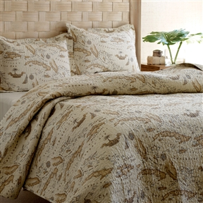 King size 100% Cotton Caribbean Map Reversible Quilt Set