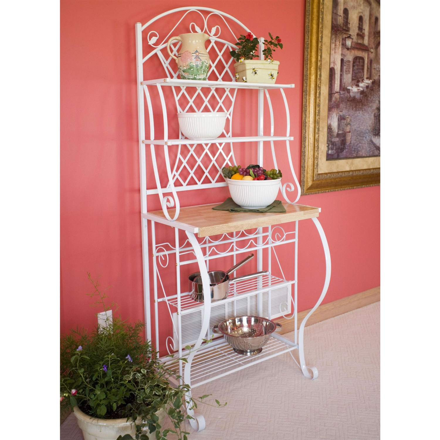 White Metal Bakers Rack with 5-Bottle Wine Rack and Wooden Work Shelf  sc 1 st  FastFurnishings.com & White Metal Bakers Rack with 5-Bottle Wine Rack and Wooden Work ...