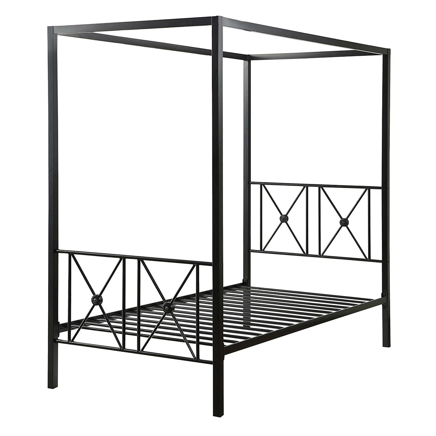 - Twin Size Black Metal Canopy Bed Frame With Medallion Accents