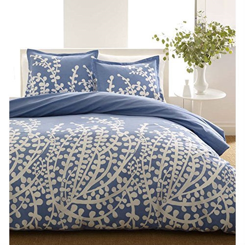 Twin size 100-percent Cotton Comforter Set with Blue White Floral Branch Pattern