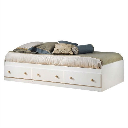 Twin size White Wood Platform Bed Daybed with Storage Drawers
