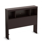Twin size Contemporary Bookcase Headboard in Chocolate Finish