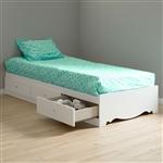 双人大床,白色木质平台床,带储物抽屉