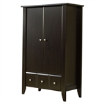 2-Door Bedroom Clothes Storage Cabinet Wardrobe Armoire in Dark Brown Wood Finish