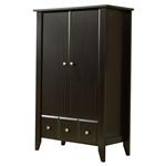 门卧室衣服收纳柜暗褐色木衣柜衣橱
