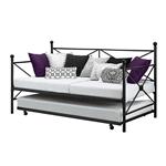 双人大号黑色金属沙发床框架和可伸缩式脚轮套装
