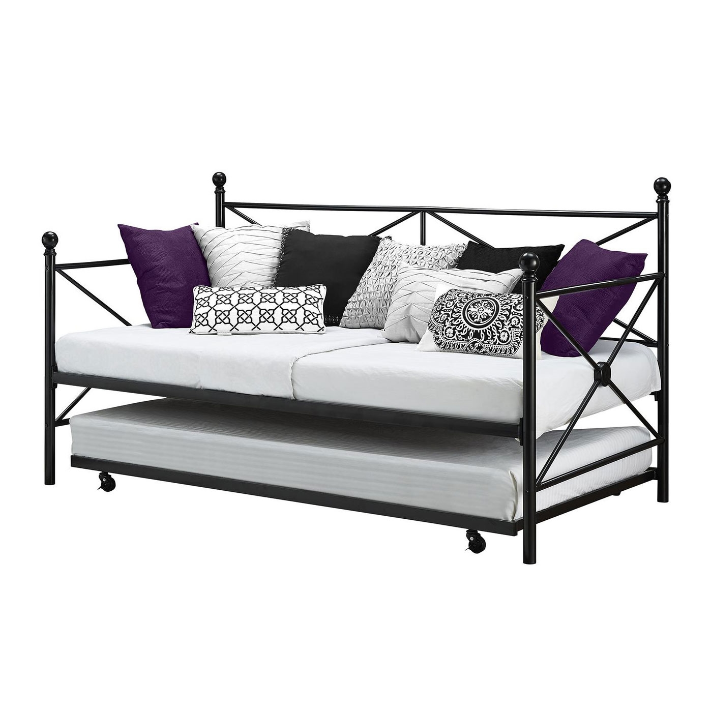 Twin Size Black Metal Day Bed Frame And Roll Out Trundle Set Fastfurnishings Com