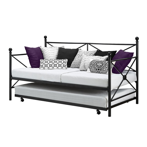 twin size black metal day bed frame and roll out trundle set. Black Bedroom Furniture Sets. Home Design Ideas