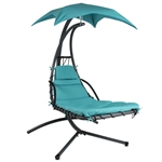 Teal Single Person Modern Chaise Lounger Hammock Chair Porch Swing