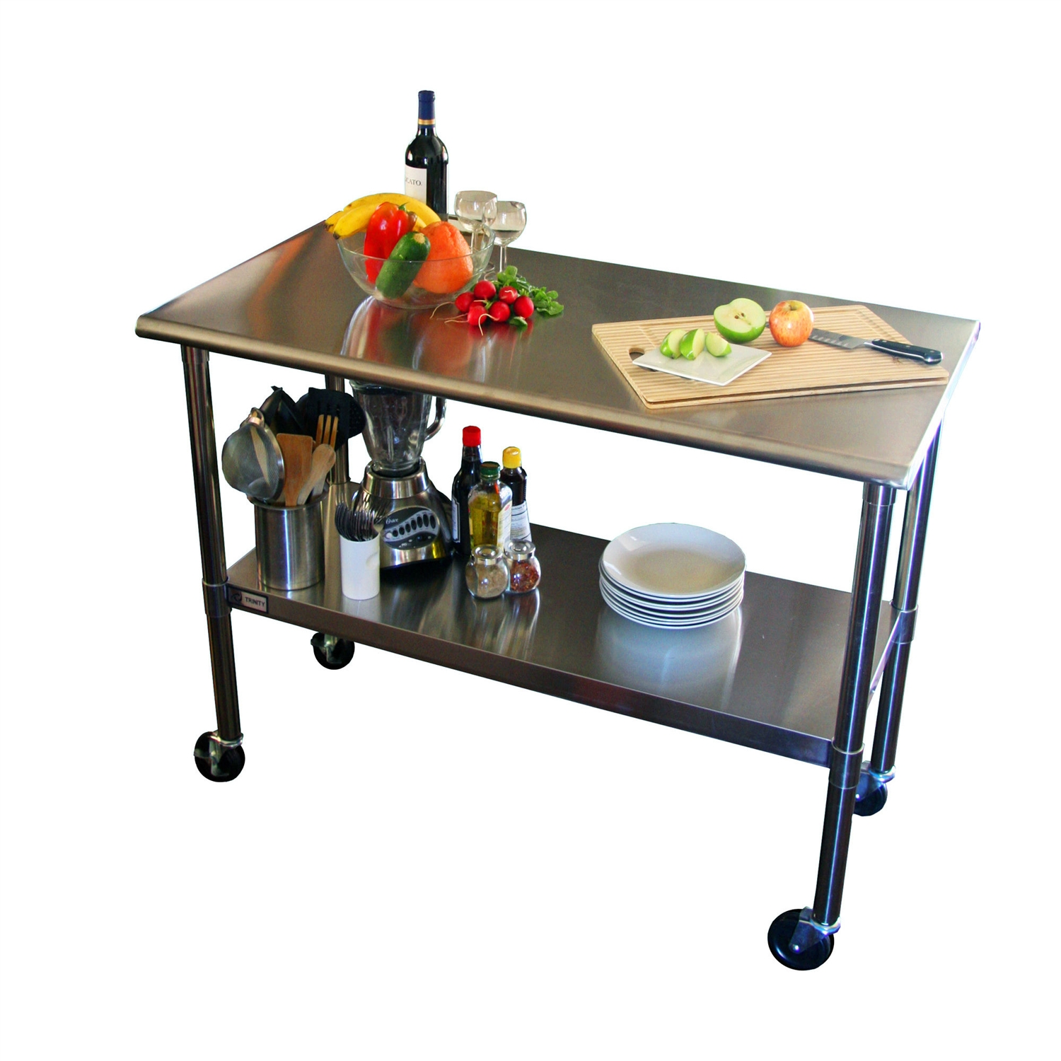 Genial 2ft X 4ft Stainless Steel Top Kitchen Prep Table With Locking Casters Wheels