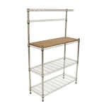Metal Bakers Rack with Hanging Bar and Bamboo Cutting Board