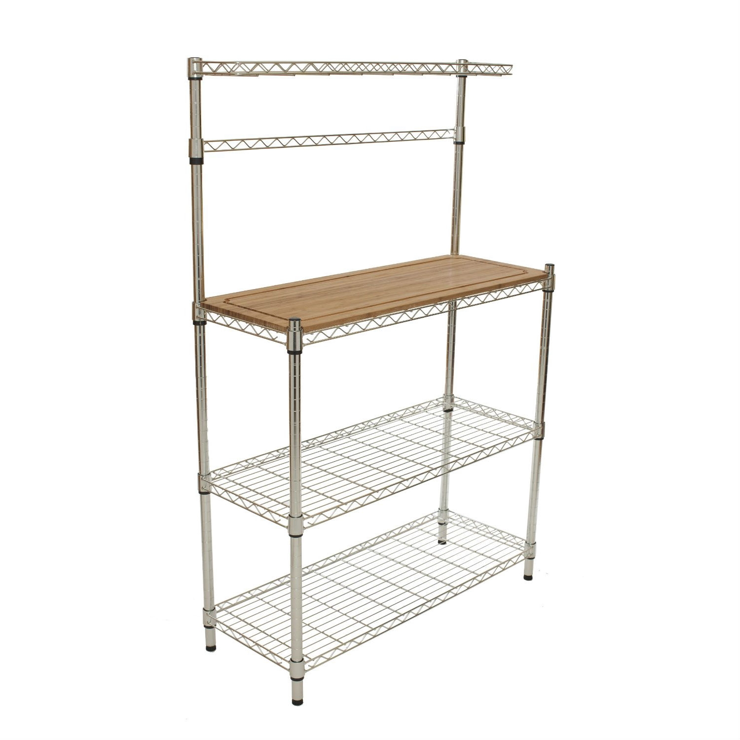 Hanging Bakers Rack Kitchen Metal Bakers Rack With Hanging Bar And Bamboo Cutting Board