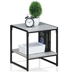Modern Metal Frame End Table Nightstand with Faux Stone Top and Bottom Shelf