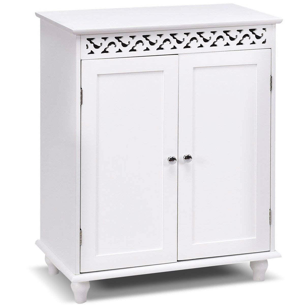 White Modern 2 Door Bathroom Storage Floor Cabinet Fastfurnishings Com