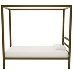 Twin size Modern Steel Canopy Bed Frame in Gold Metal Finish